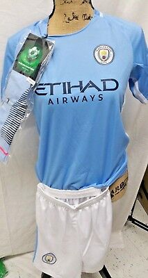 Manchester City 2017-18  Youths  Soccer Jersey, Socks  & Shorts (10-11 Year Old) (11 Year Olds)