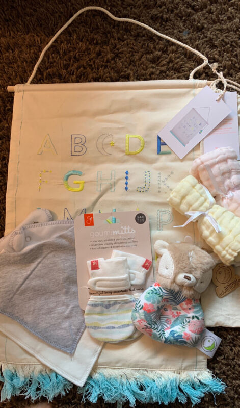 Baby lot items, Goumi mitts, Deer rattle, washcloths, Two Bibs, Wall Hanging