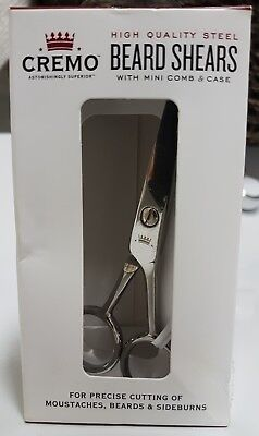 Cremo Beard & Mustache Stainless Steel Shears Without Mini-Comb & Leather Case - Beards Without Mustache