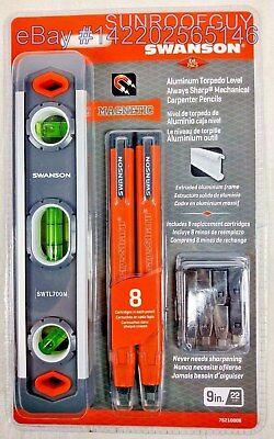 Swanson 9 Inch Aluminum Magnetic Torpedo Level   Carpenter Pencil  75210006