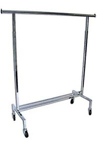 Heavy-Duty Commercial Chrome Garment / Clothing Rack on Wheels