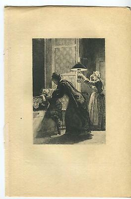ANTIQUE VICTORIAN GIRL SLEEPING DREAMING TERRACE NIGHT SKY OIL LAMP MOTHER PRINT