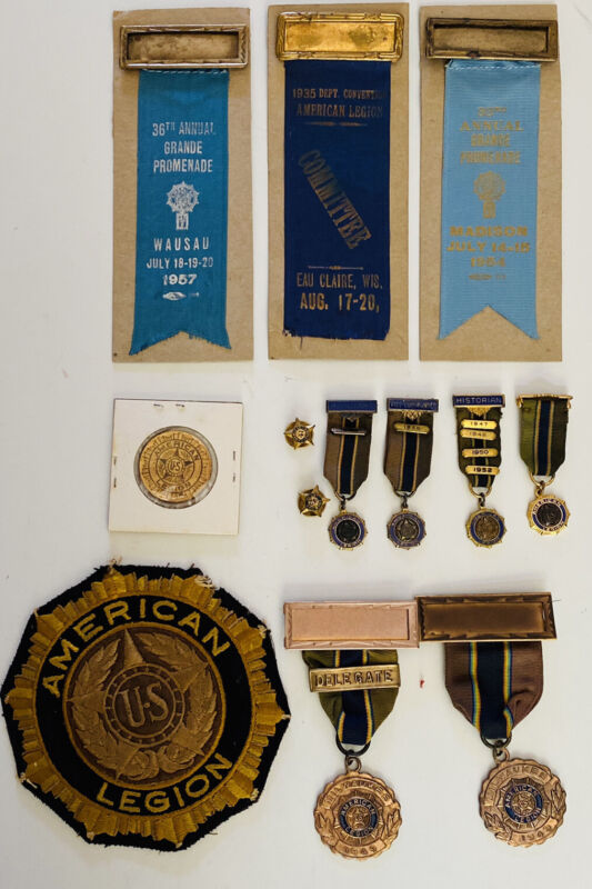 Vintage Lot Of 13 AMERICAN LEGION MEMBER Badges, Patch Coin Pins Ribbons 1935 +