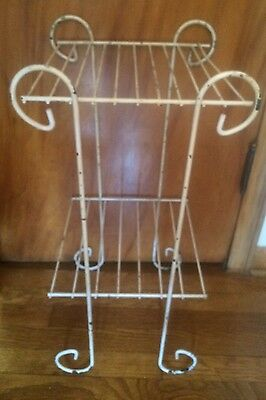 Vintage Mid Century Shabby Scroll Metal Plant Stand 2-Tier