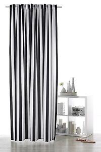 Vorhang Schlaufenband Dekoschal schwarz weiß gestreift Gardine Streifen Typ350