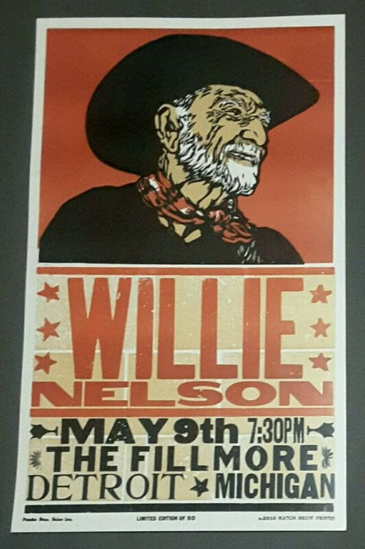 WILLIE NELSON #/50 Hatch Show Print THE FILLMORE Detroit, MI 2010 Concert Poster