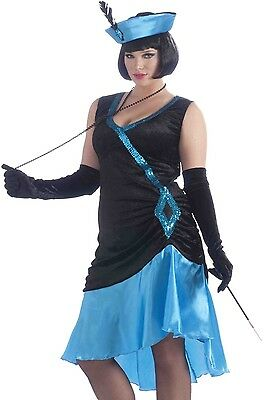 Blue Flapper Costume Dress Sexy 20s Betty Boop Adult Gatsby 20's - Plus Size XL