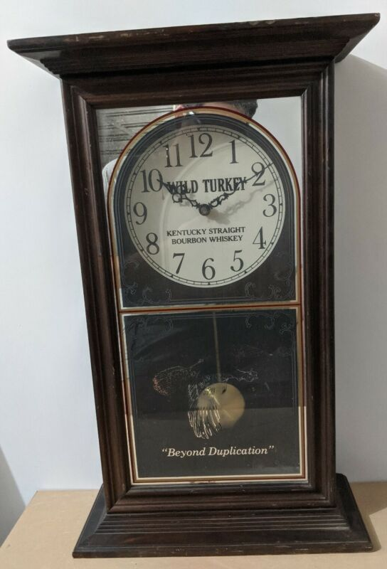 VINTAGE WILD TURKEY BOURBON WHISKEY WOODEN WALL CLOCK, NOT TESTED *Read