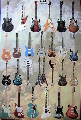 GUITAR COLLECTION POSTER FROM ASIA: Gibson, Ibanez, Yamaha, Rickenbecker, Fender, used for sale  Shipping to India