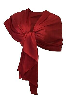 Elegante SCIARPA in Seta Scialle Foulard,Donna Coprispalle Stola Cerimonia Rosso