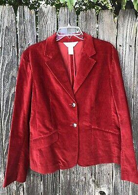 Vintage Orvis Womens Sz 14 RED Cotton/Spandex Blazer Jacket 2 Button -