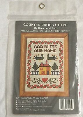Deco Point - Deco Point Inc God Bless Our Home #1906 Counted Cross Stitch Kit 1989 NIP