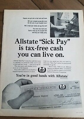 1966 Allstate Insurance Sick Pay Tax Free Cash  Can Live On Broken Leg Cast Ad
