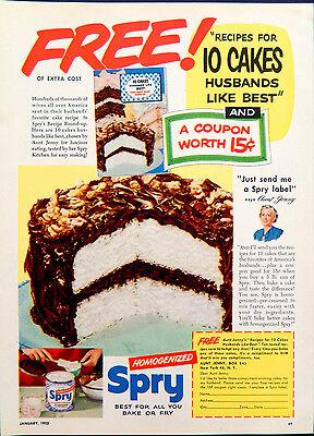 Vintage 1952 Spry cake shortening retro advertisement print ad art