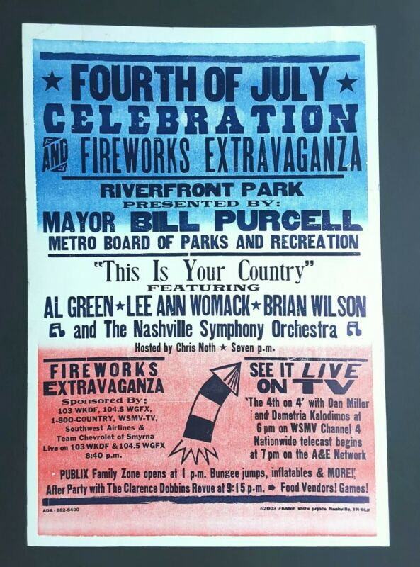 AL GREEN & BRIAN WILSON Hatch Show Print Nashville JULY 4th 2003 Concert Poster