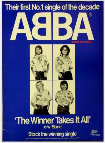 "1980 ABBA ""The Winner Takes It Al""  Song Release Music Industry Promo Ad Reprint"