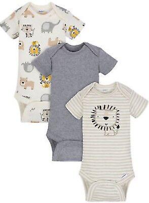 GERBER BABY BOY Organic Cotton Onesies Bodysuits Variety 3-Pack - LION - NWT Baby Cotton Short Sleeved Onesie