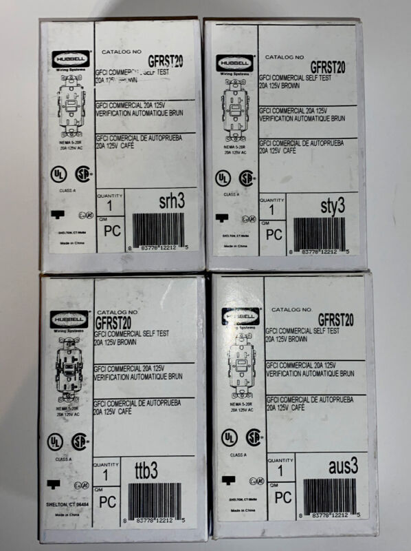 4 Hubbell Commercial GFCI Self Test Plugs 20A/ 125v Model GFRST20 Brown
