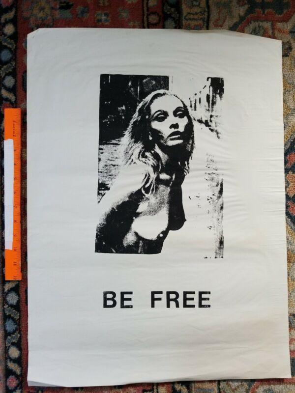 Protest POSTER BOYCOTT Rare Vintage PRINT Hippie PEACE LOVE 1960s 1970s BE FREE