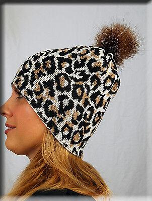 - New White Leopard Print Beanie Hat Crystal Fox Fur Pom Pom One Size Fits All