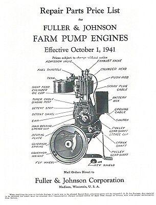 Fuller & Johnson Farm Pump Engines Book Motor Parts List Operating Instructions