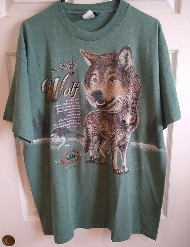 Vintage Single Stitch Signal Sport Minnesota Wildlife Sanctuaries Wolf Tshirt XL