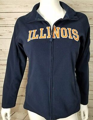 University of Illinois Jacket M Medium Zip Up Fleece Fighting Illini (A36)