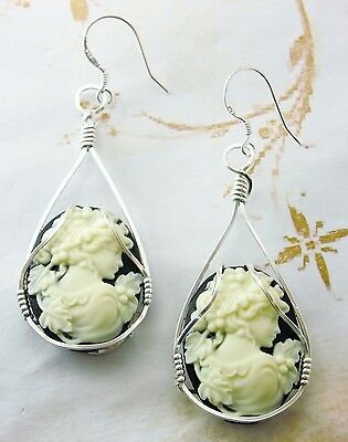 Grecian Goddess with Grapes Cameo  925 Sterling Silver SS Earrings