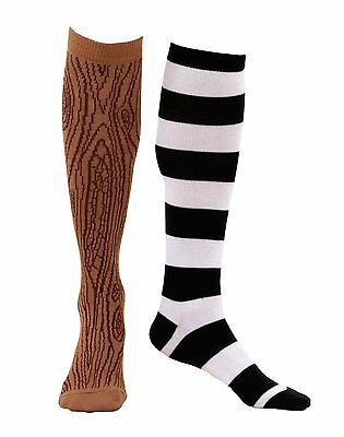 Knee High Mismatched Pirate Socks Peg Leg Costume Striped Wooden Stockings Adult - Pirate Socks