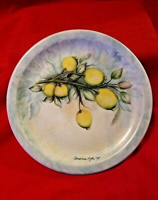 """INTER AMERICA PURE PORCELAIN 7 1/2"""" PLATE HAND PAINTED LEMON Made in Brazil"""