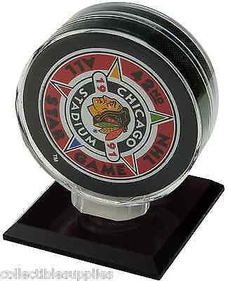 Single Hockey Puck Display Case - NEW SINGLE HOCKEY PUCK DISPLAY CASE HOLDER w BLACK BASE