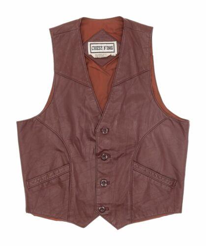 Vintage Leather Motorcycle Vest L Large Boys Youth Western Vest Biker Vest