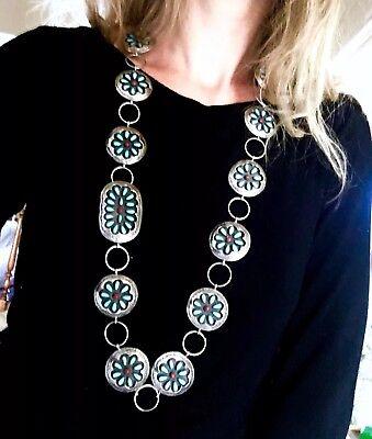 LaRGE Floral  Zuni Tony Romansito sighned Vintage sterling silver belt necklace
