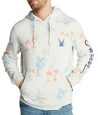 Nautica Mens Sweater Gray Size Large L Sailboat Printed Hooded Pullover $118 178