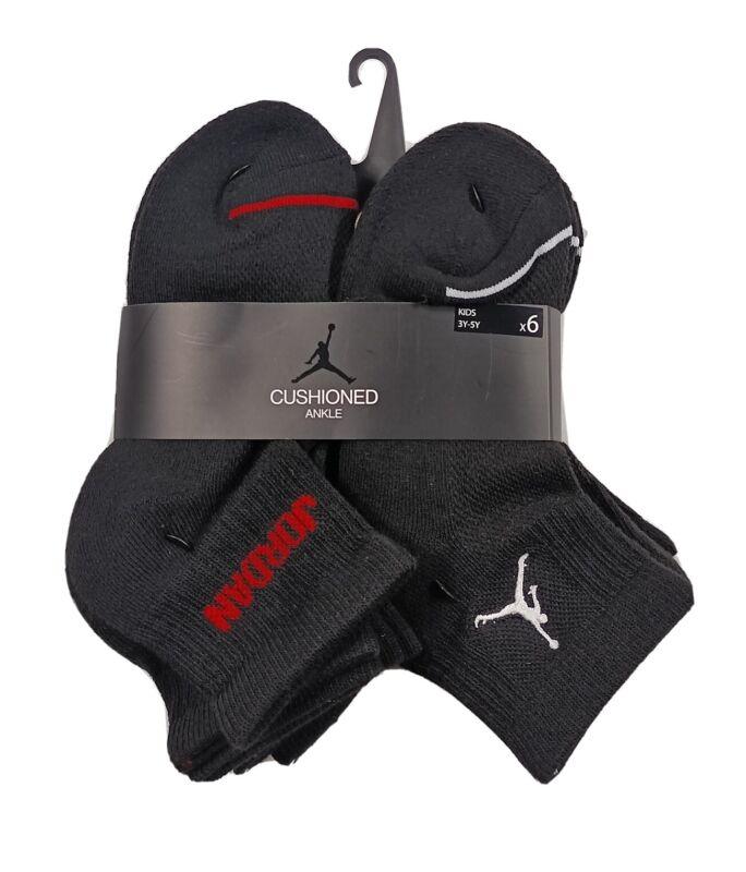 NIKE JORDAN Boys Ankle Socks Cushioned Jumpman Black 6 Pack Shoe Size 3Y-5Y