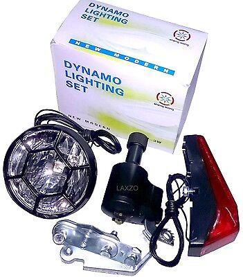 Bicycle Bike Cycle Front and Rear Light Set  Dynamo Classic Retro Vintage Style