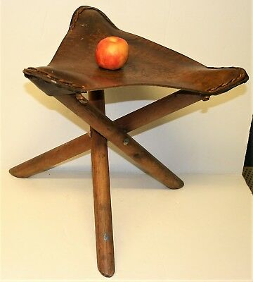 Vintage Saddle Leather Hand Tooled 3 Legged Folding Stool Artist Camping Garden