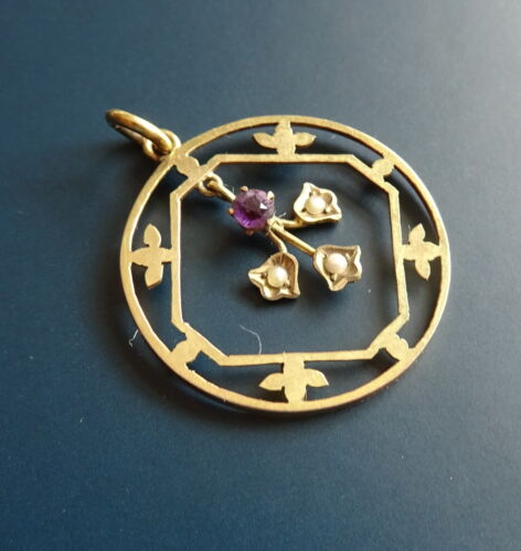 Art Nouveau 9ct Gold Seed Pearl and Amethyst Pendant