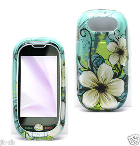 y.Blue Hisbiscus Cover Hard Case Rubber Feel Skin For Pantech Ease P2020 Phone