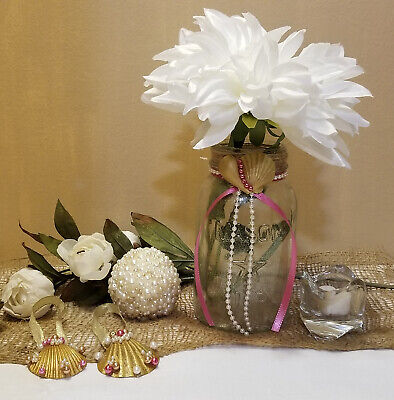 Beach Theme Wedding Mason Jar Vase  Wedding Centerpiece  Seashells and Pearls - Beach Theme Centerpieces
