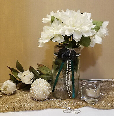 Beach Theme Wedding Mason Jar Wedding Centerpiece with Rhinestones Beach Decor  - Beach Theme Centerpieces