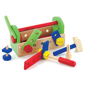New Childrens Kids Wood 24 Piece Play Toy Tool Box Kit Set & Boys Wooden Hammer