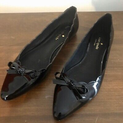 Kate Spade Black Patent Leather Bow Flats 8.5