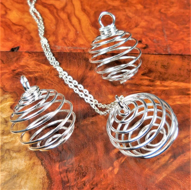 Silver Flexible Round Cage - Pendant Charm - Empty Stone Holder Cage Necklace