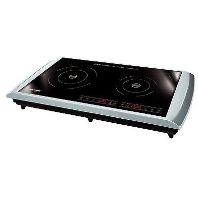 Placa de Inducción doble portátil Táctil cocina 2 fuegos 10 temp 3100W...