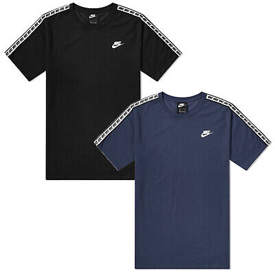 Men's Nike Repeat Taped T Shirt Tee Crew Neck Cotton Black Navy AR4915 010/451