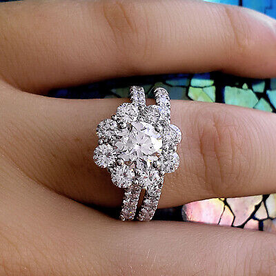 2.42 Ct Round Cut Floral Halo Diamond Engagement Ring & Band E SI2 GIA 18K WG