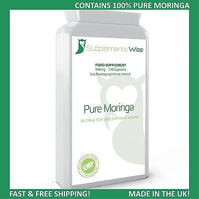 Moringa Oleifera Capsules 120 x 500mg Pure Antioxidant Superfood Immune Health