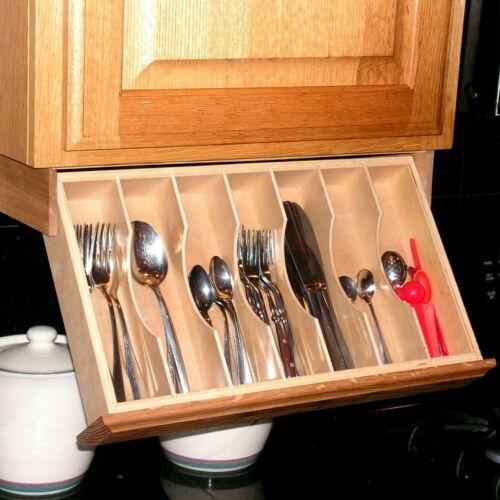 Under cabinet drawer drop down flatware silverware organizer cutlery storage