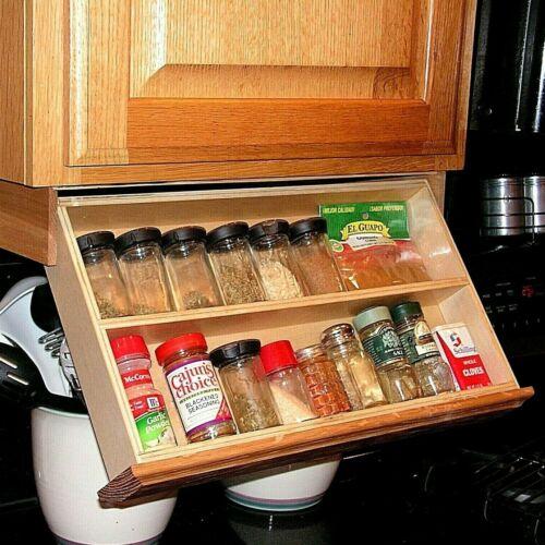 Under Cabinet Spice Rack - Drawer Unfinished Oak hardwood - tilt down